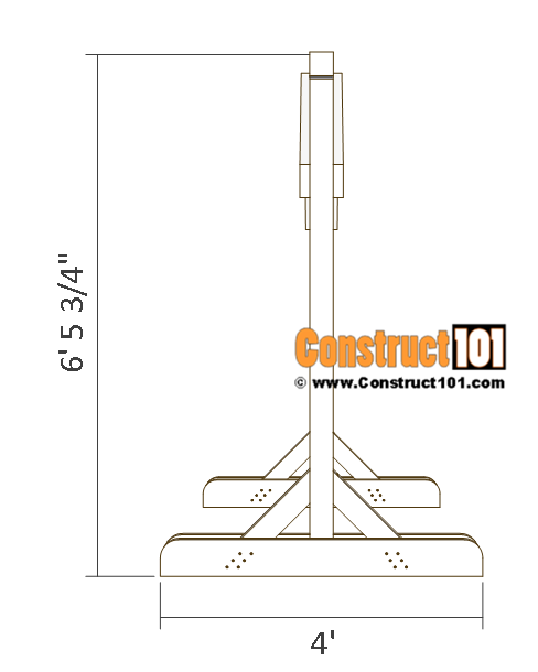 Porch swing stand plans - side view.