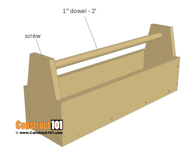 Wooden chicken feeder plans - dowel, handle.