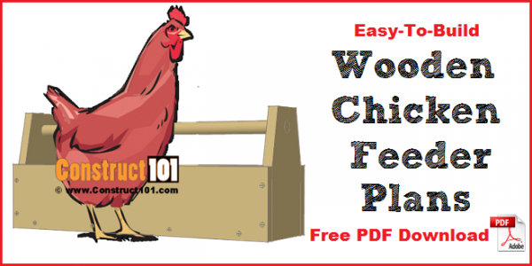 Wooden chicken feeder plans - free PDF download, material list, measurements, and drawings.