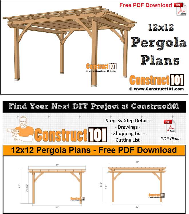 12x12 pergola plans free PDF download, material list, easy DIY project.