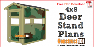 Deer stand plans 4x8 - free PDF download, material list, and drawings, at Construct101