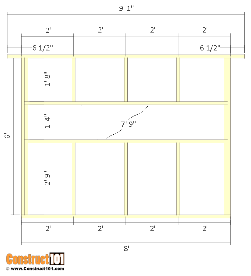 Deer stand plans 4x8 - front/back wall frame.