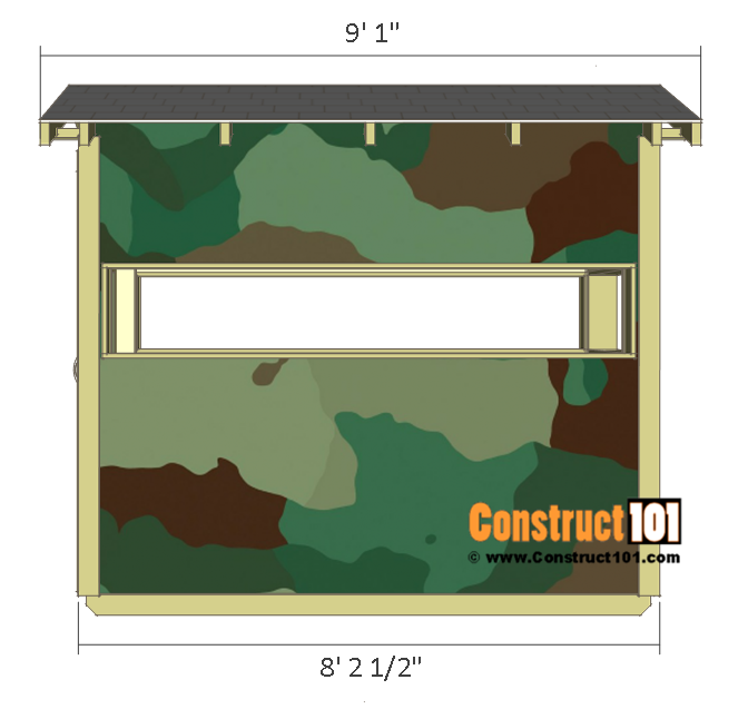 Deer stand plans 4x8 - front view.