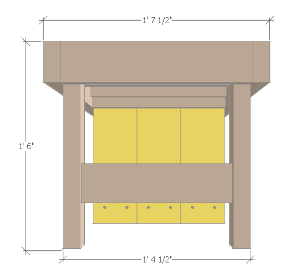 DIY small planter bench - bench side view.
