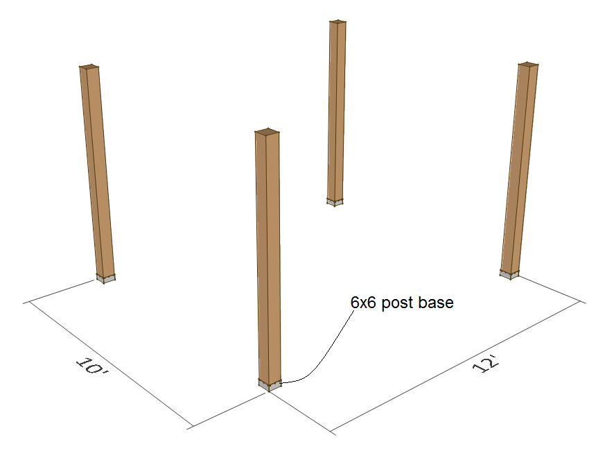 Pergola plans - 10x12 - 6x6 post.