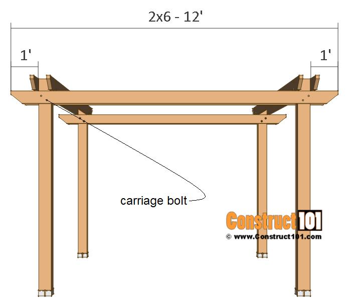 Pergola plans - 10x12 - side crossbeams.