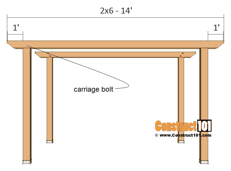 12x12 pergola plans - 2x6 fourteen ft. crossbeam.