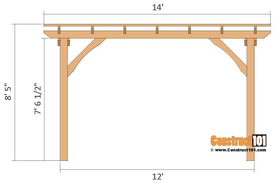 12x12 pergola plans - front view - free PDF download.