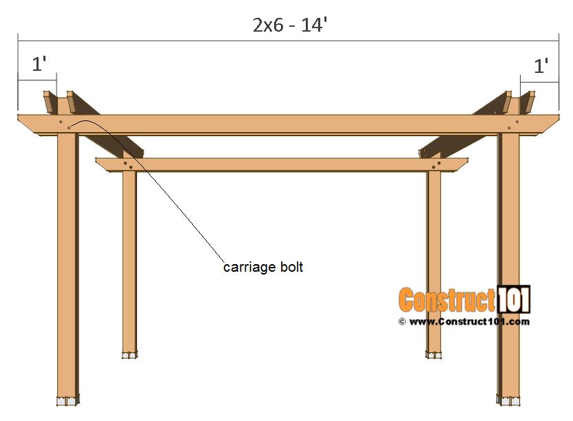 12x12 pergola plans - side 2x6 crossbeam.