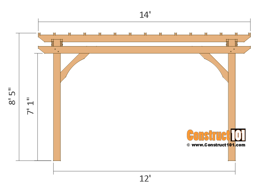 12x12 pergola plans - side view - free PDF download.
