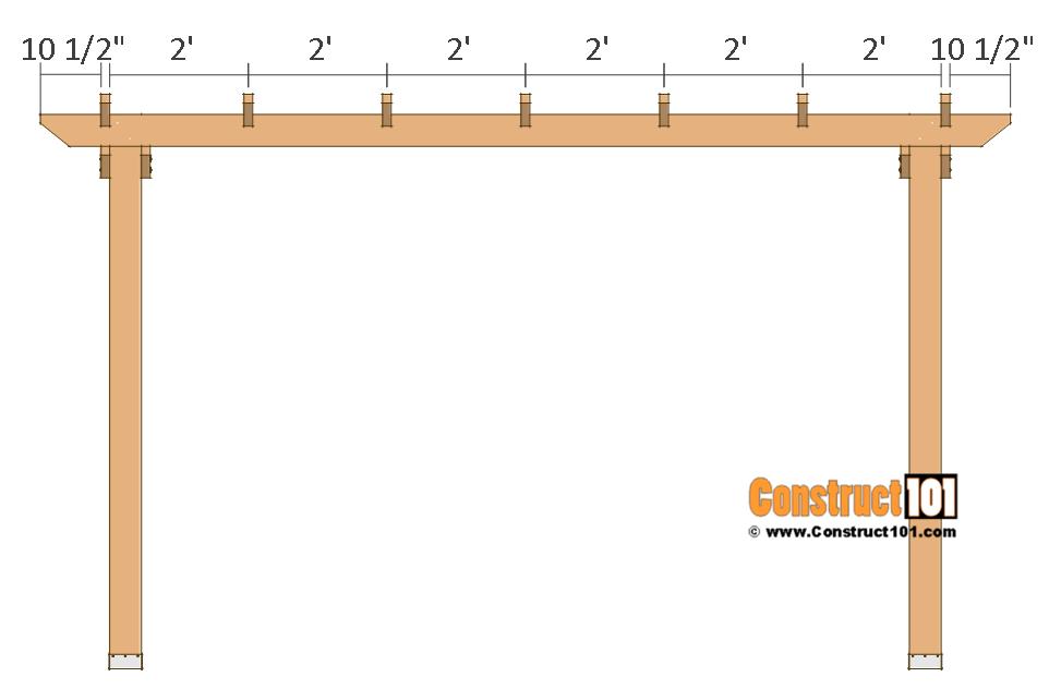 12x12 pergola plans - top boards.
