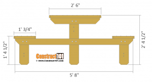 Two person picnic table plans - side view.