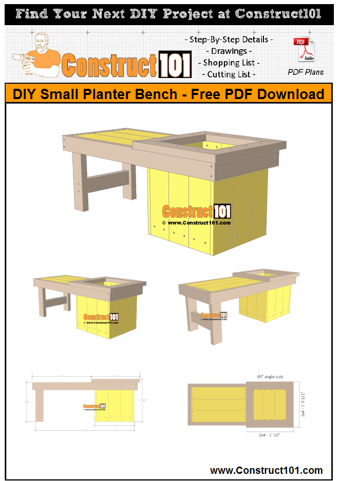 DIY small planter bench - free PDF download, material list, drawings, and step-by-step directions.