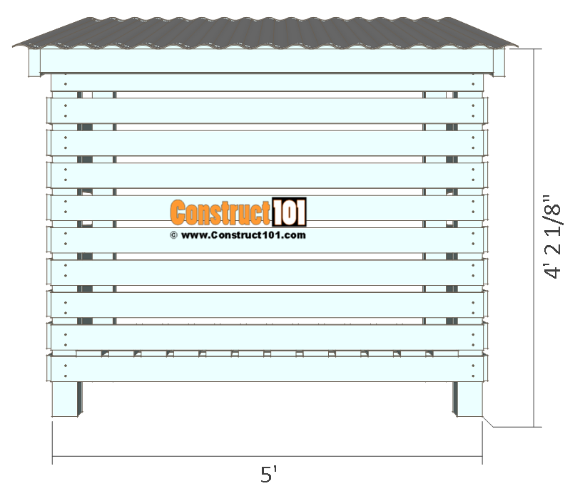 Firewood shed plans - back view.