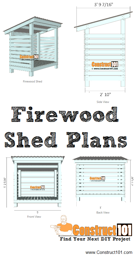 Firewood shed plans, free PDF download, material list, measurements, drawings, and step-by-step instructions, at Construct101