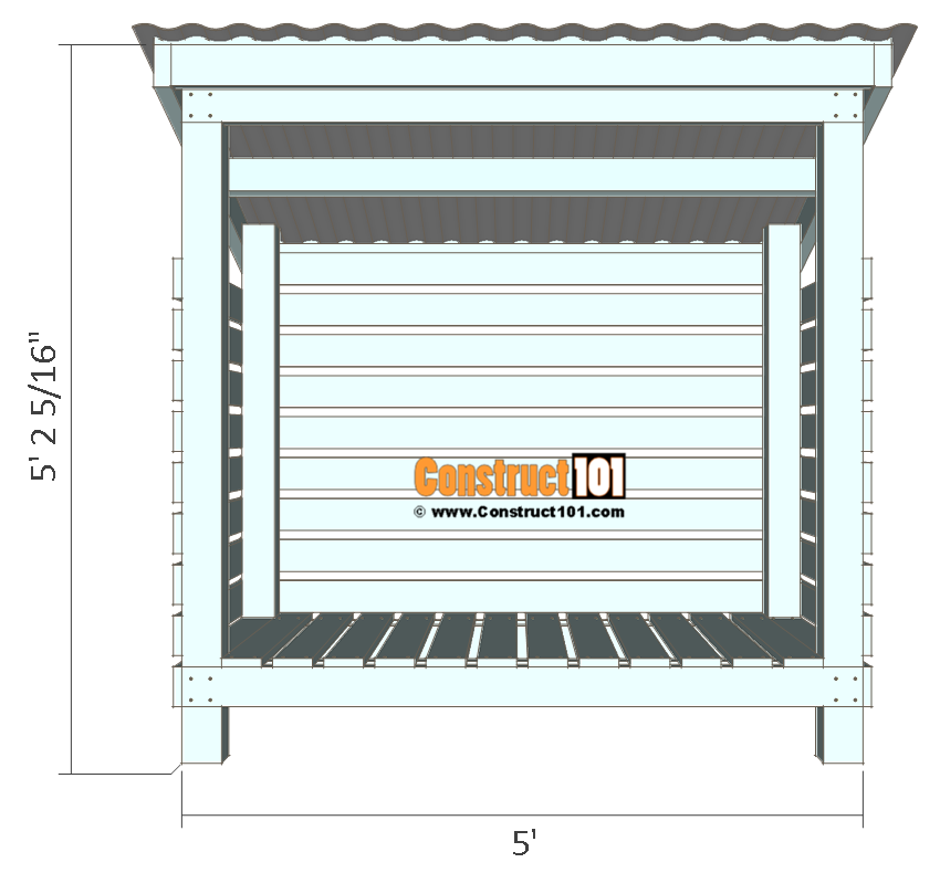 Firewood shed plans - front view.