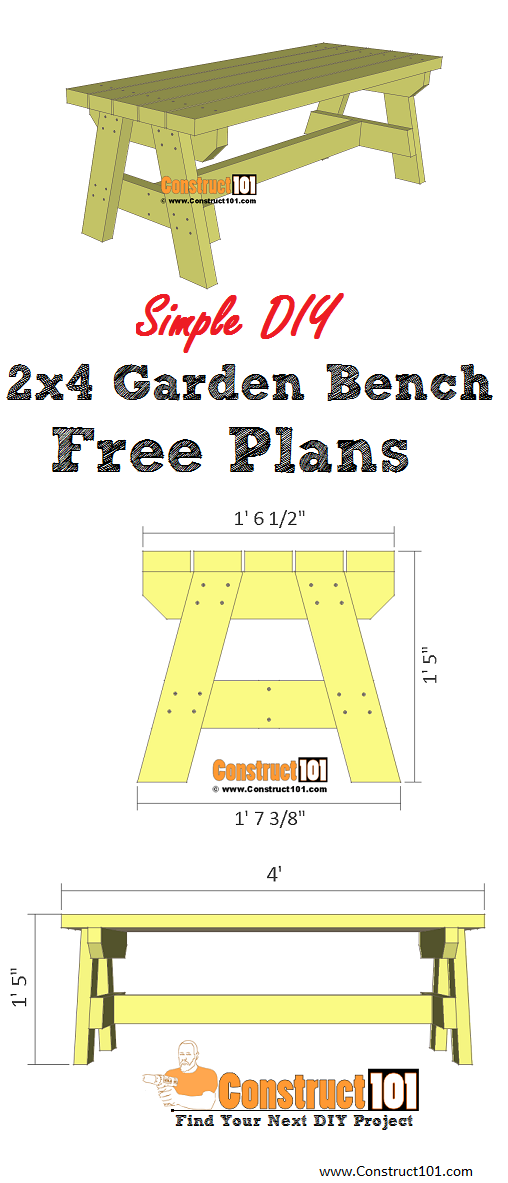 Simple 2x4 garden bench plans - DIY project, includes free PDF, material list, drawings, and step-by-step details at Construct101
