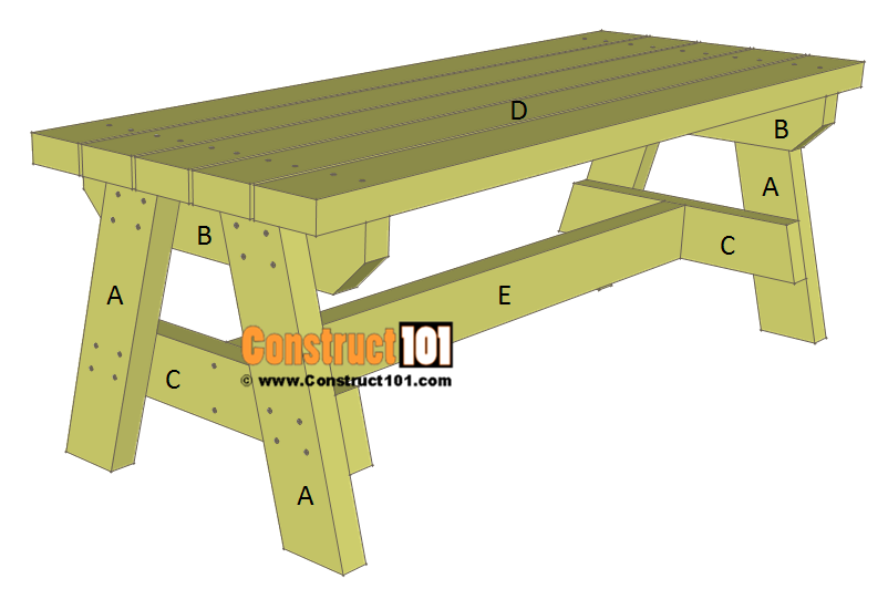 Simple 2x4 garden bench plans - material list.