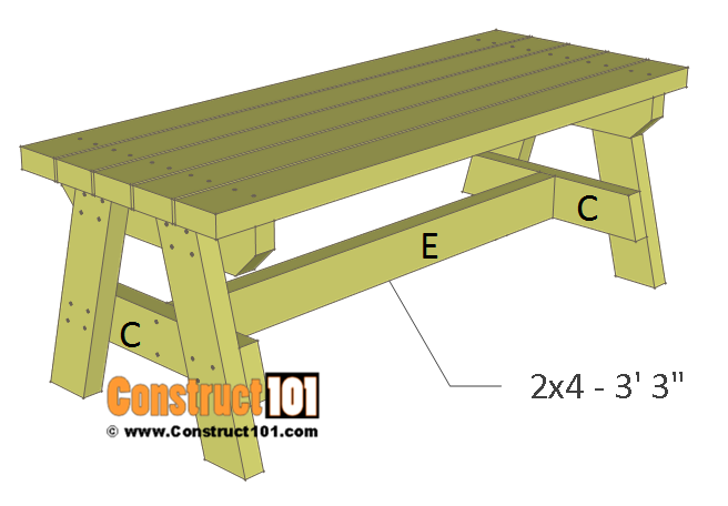 Simple 2x4 garden bench plans - support E.