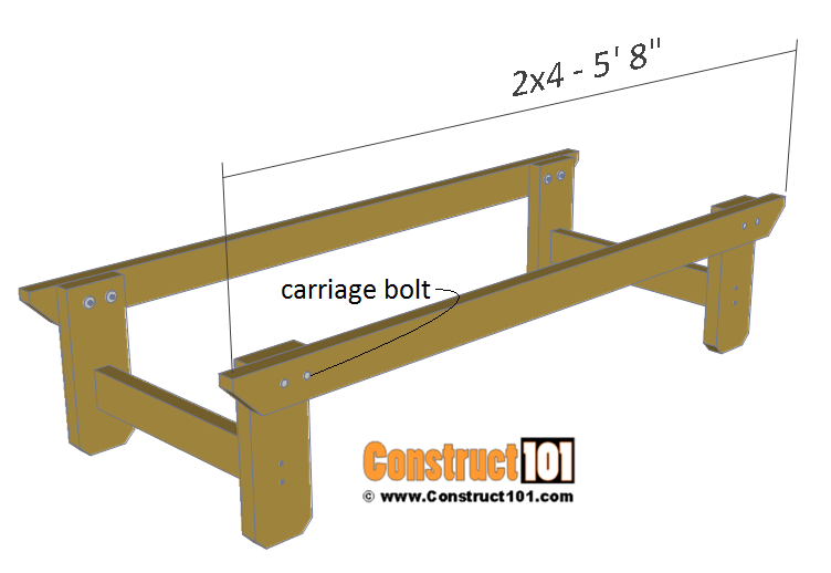 Two person picnic table plans - 2x4 frame support.