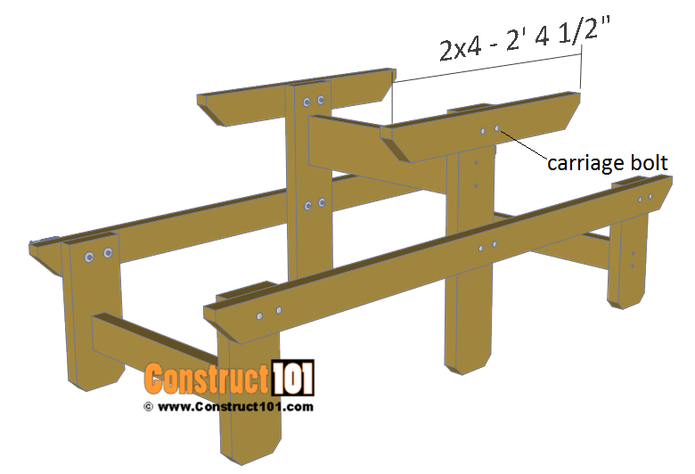 Two person picnic table plans - 2x4 table top support.