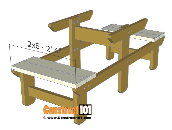 Two person picnic table plans - 2x6 bench seat.