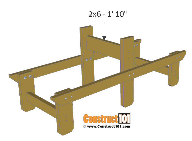 Two person picnic table plans - 2x6 table brace.