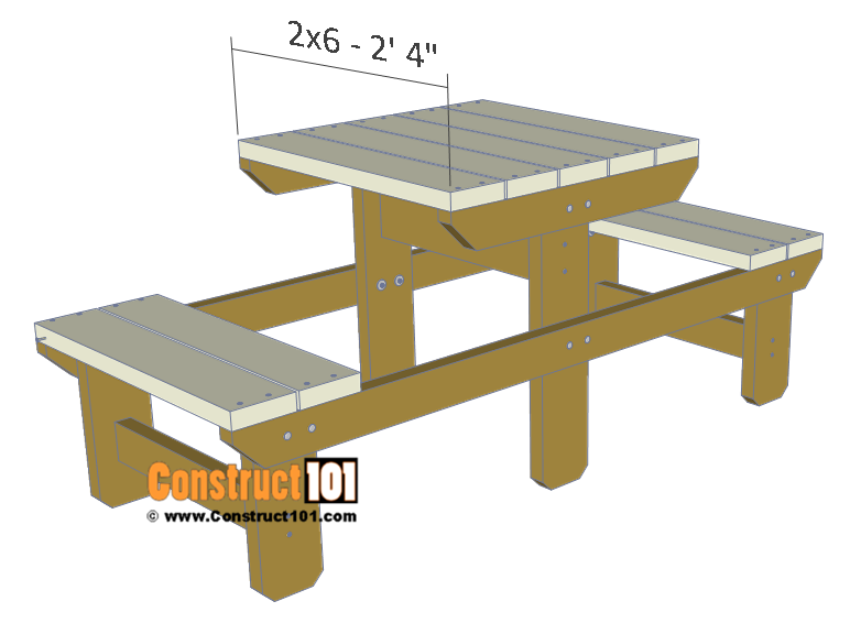 Two person picnic table plans - 2x6 table top boards.