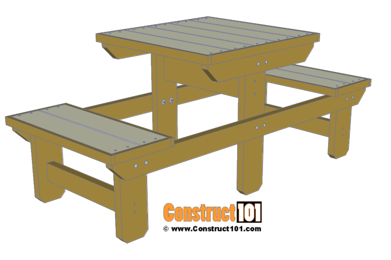 Two person picnic table plans - free PDF download - Construct101