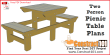 Two person picnic table plans - free PDF download, and material list, at Construct101