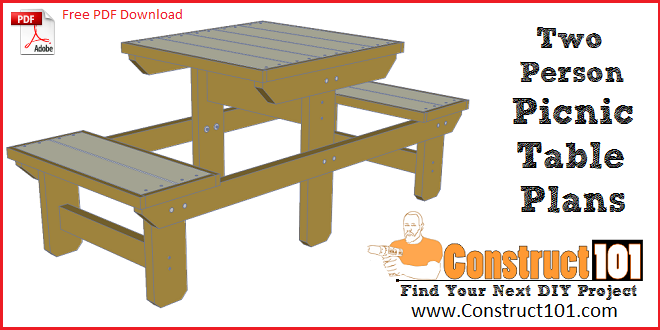 Two person picnic table plans - free PDF download, shopping list, cutting list, drawings, and step-by-step details.