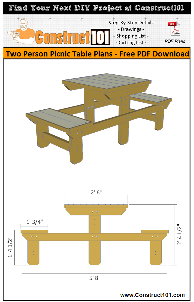 Two person picnic table plans - free PDF download, material list, drawings, and step-by-step details.