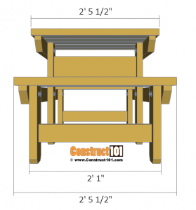Two person picnic table plans - front view.