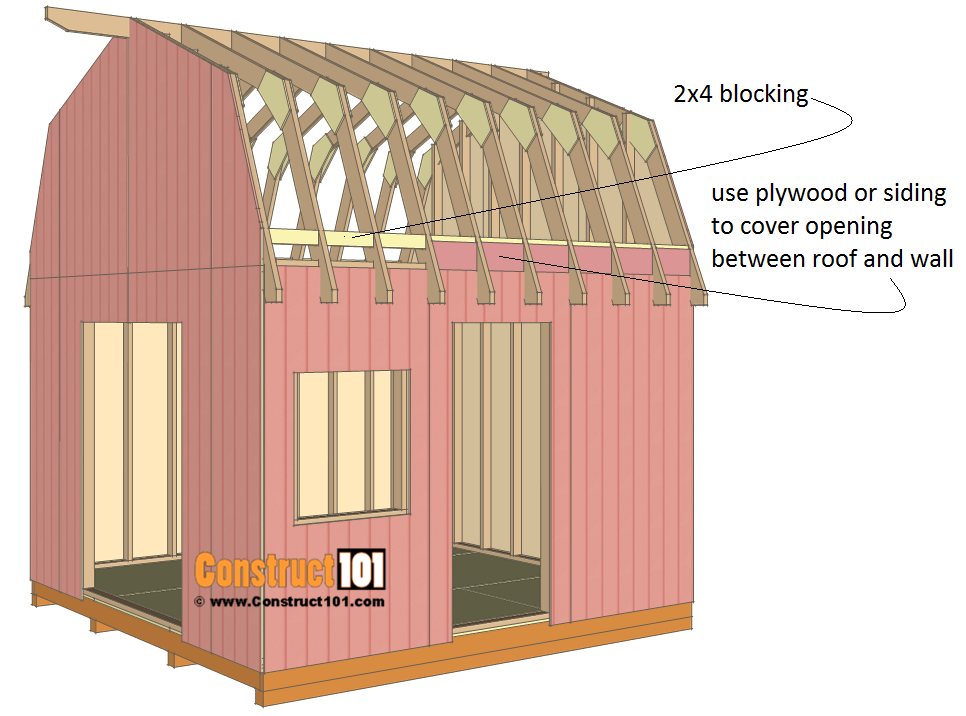 12x12 barn shed plans - 2x4 blocking.