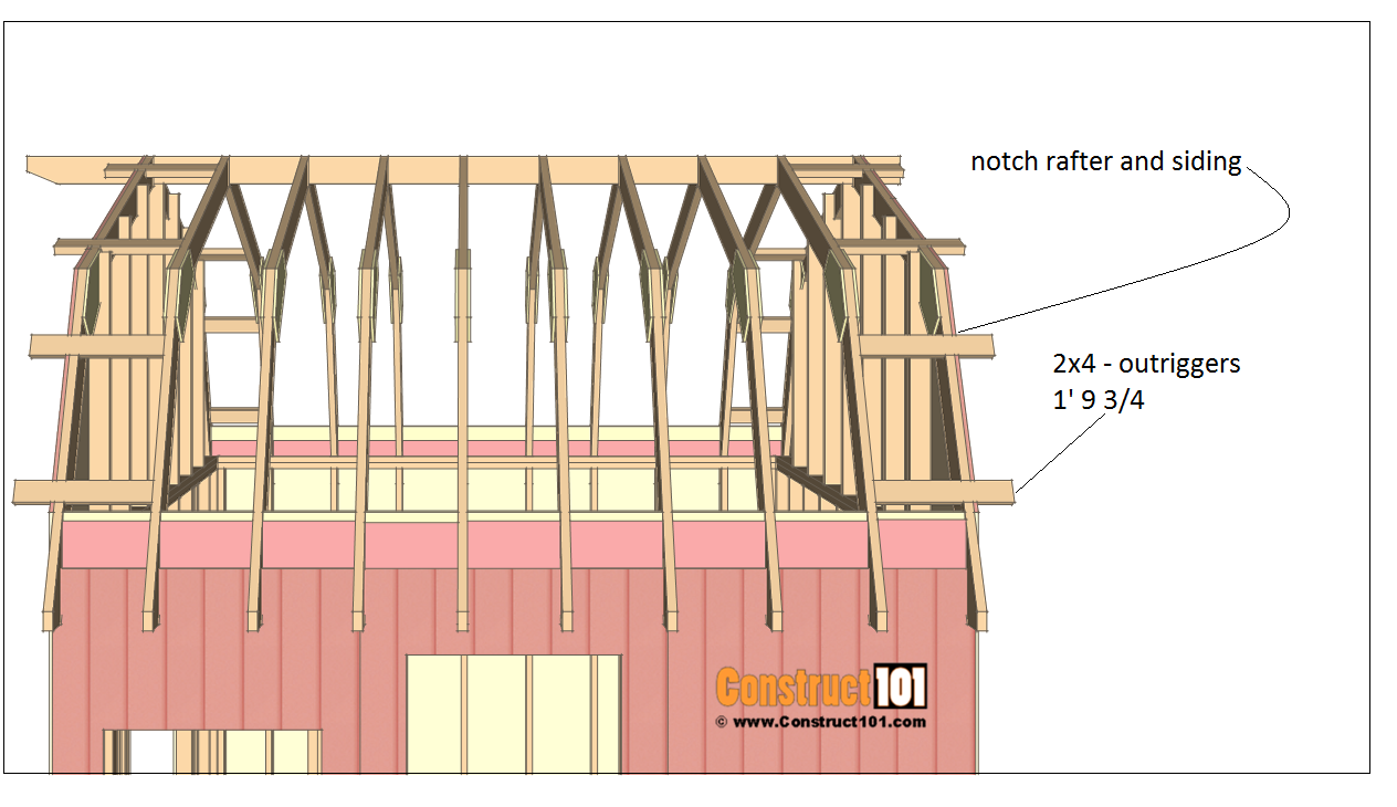 12x12 barn shed plans - 2x4 outriggers.