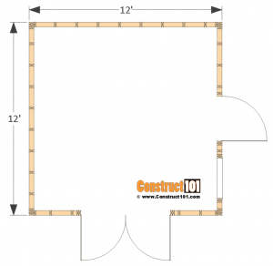 12x12 barn shed plans - floor view.