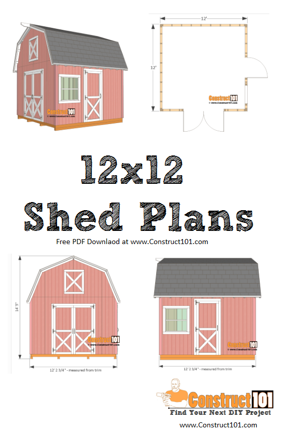 12x12 barn shed plans - includes free PDF download, shopping list, cutting list, and step-by-step detailed drawings. DIY projects at Construct101