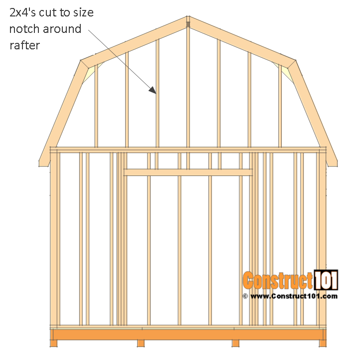 12x12 barn shed plans - front and back top wall studs.