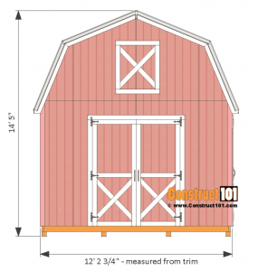 12x12 barn shed plans - front view.