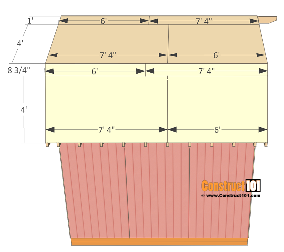 12x12 barn shed plans - roof deck.