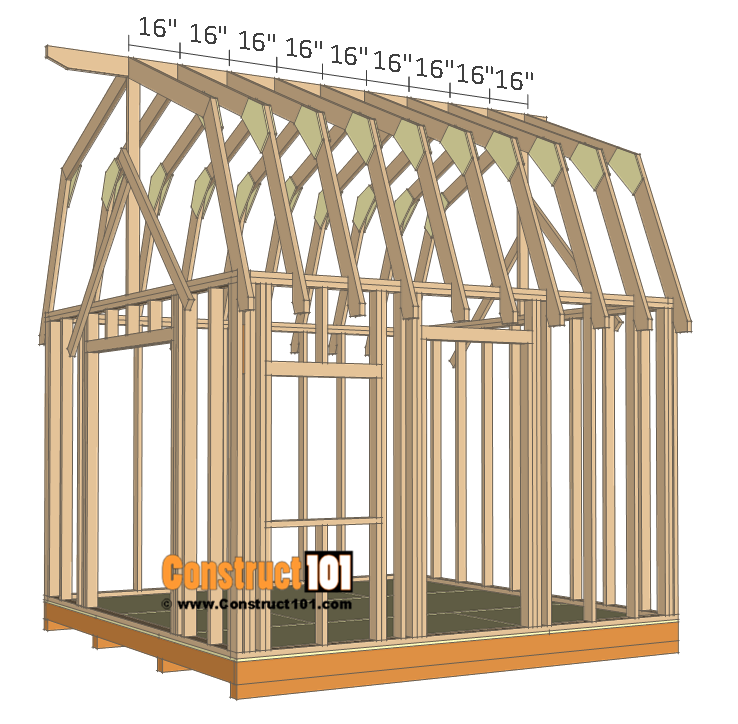 12x12 barn shed plans - truss frame.