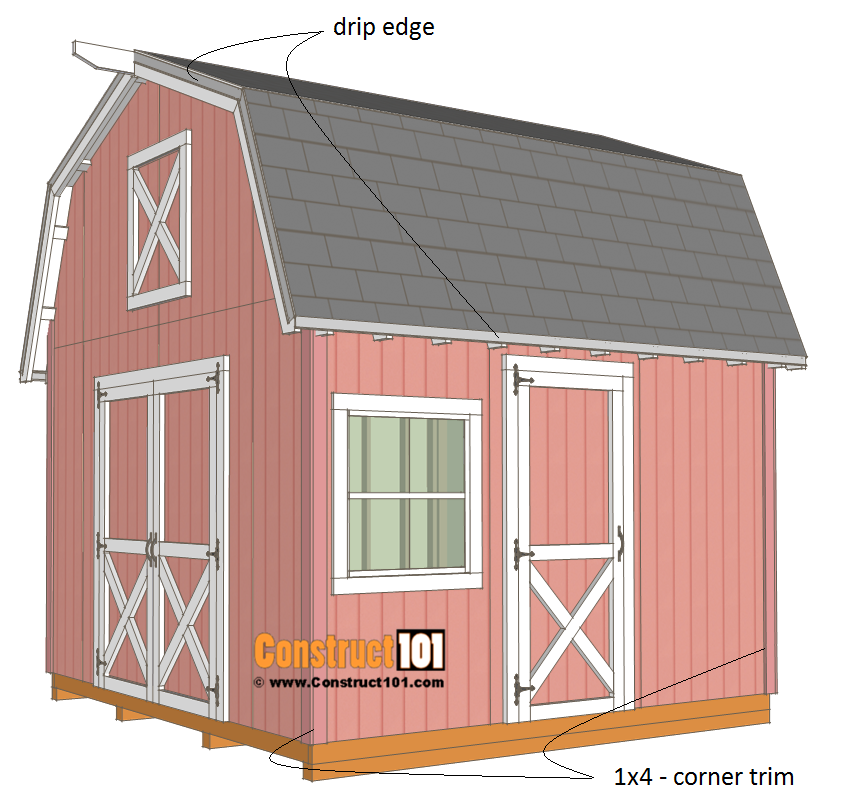 12x12 barn shed plans - shingles and trim.