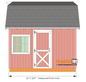 12x12 barn shed plans - side view