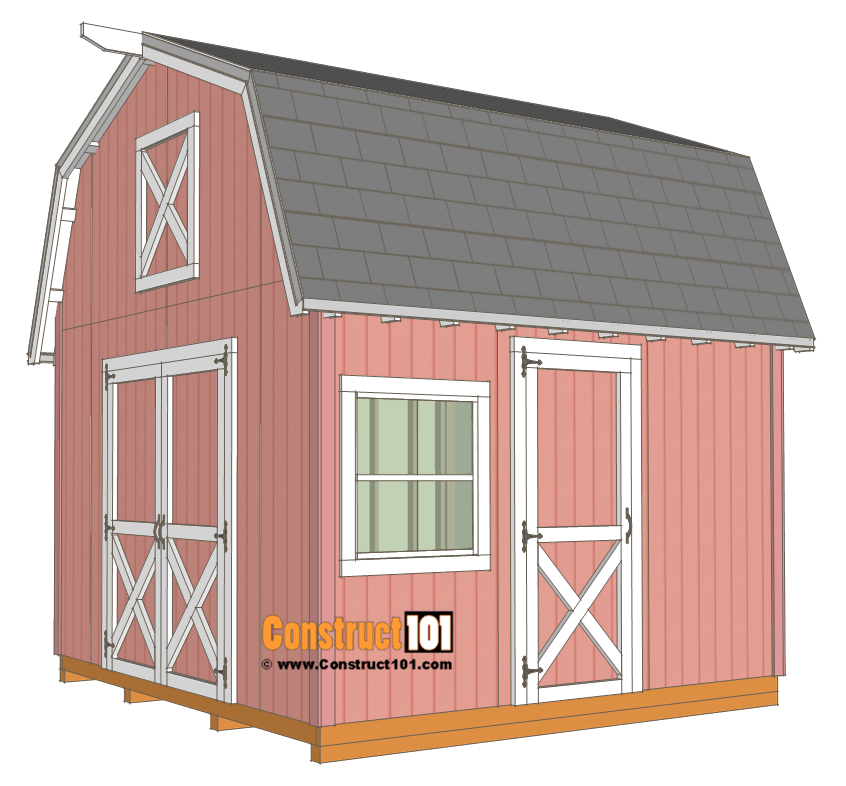 12x12 Barn Shed Plans - With Overhang - Free PDF ...