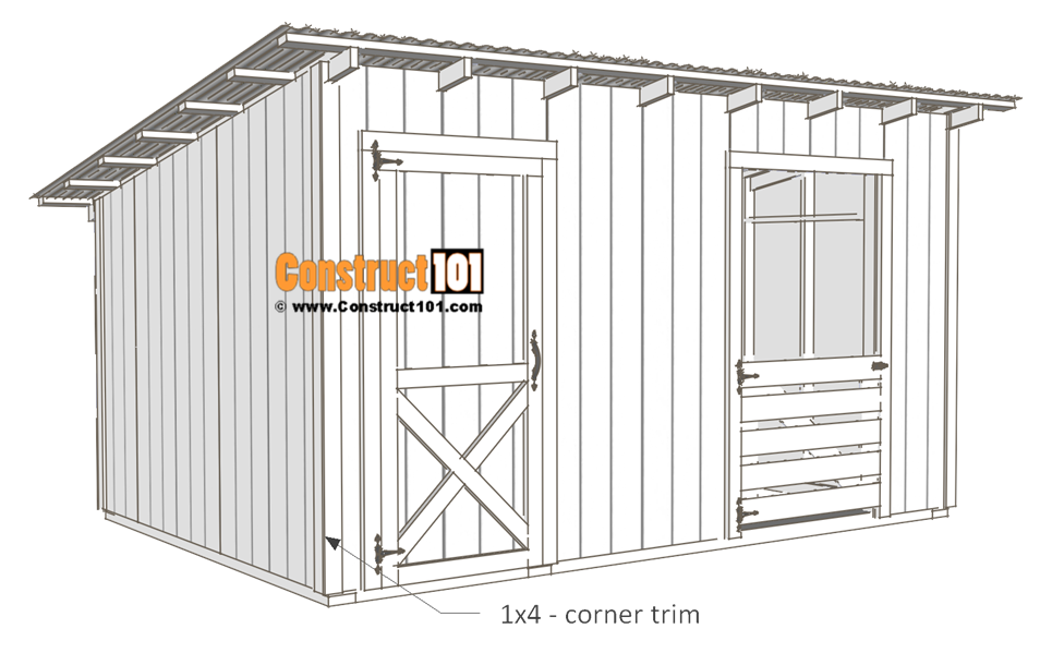 10x14 goat shelter plans with storage - 1x4 corner trim.
