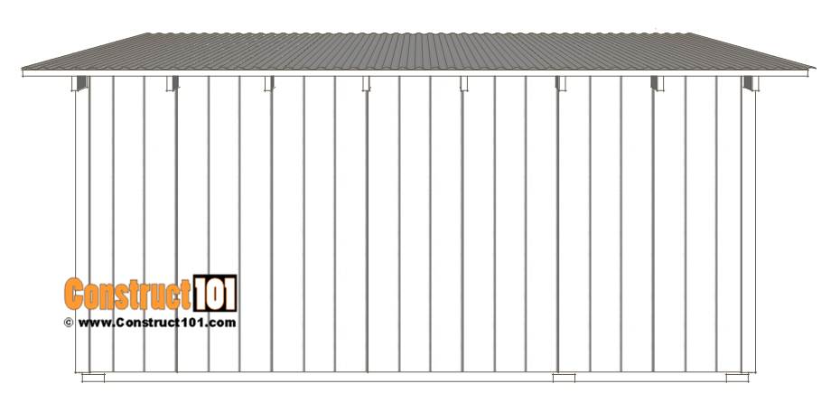 10x14 goat shelter plans with storage - back view.