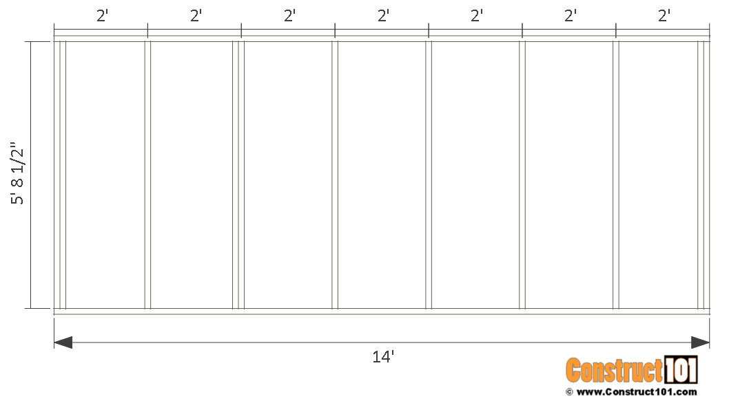 10x14 goat shelter plans with storage - back wall frame.