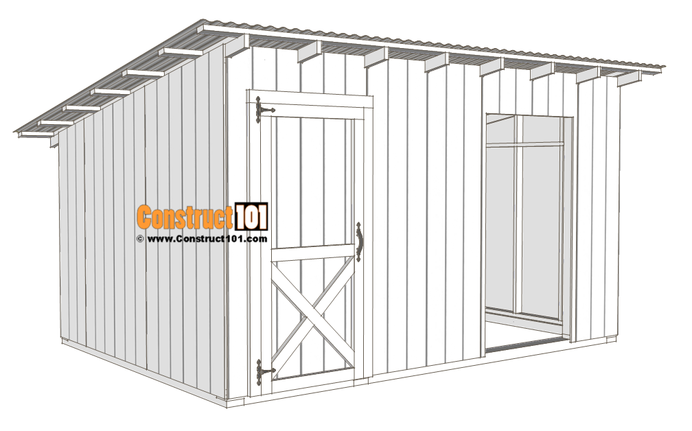 10x14 goat shelter plans with storage - door installed.