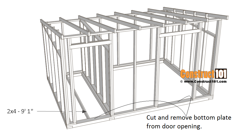 10x14 goat shelter plans with storage - floor joist.