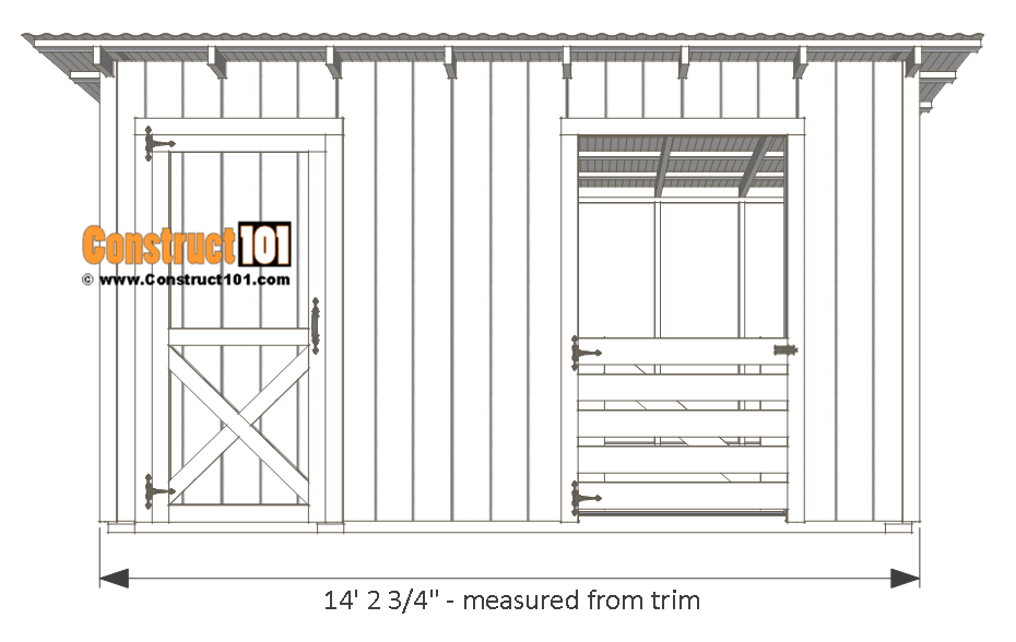 10x14 goat shelter plans with storage - front view.